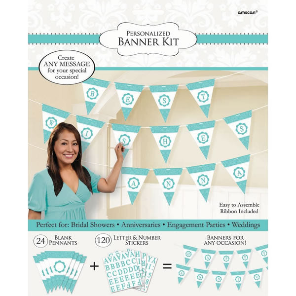 Pennant Banner Kit Personalise It Robin's Egg Blue Contains - 24 x Pennants 27cm x 22cm, 120 x Letters & Numbers - Ribbon 792cm - Each