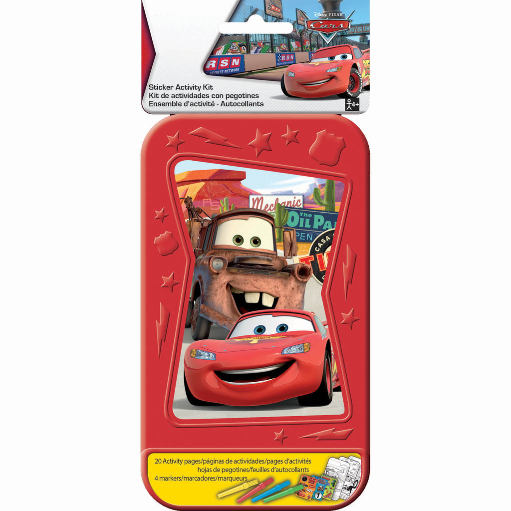 Disney Cars Sticker Activity Kit Plastic Case Includes 20 Activity Pages, 3 x Sticker Sheets & 4 x Colouring Pens - Each