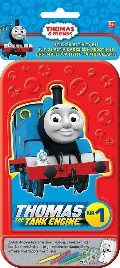 Thomas & Friends Sticker Activity Kit Plastic Case Includes 20 Activity Pages, 3 x Sticker Sheets & 4 x Colouring Pens - Each
