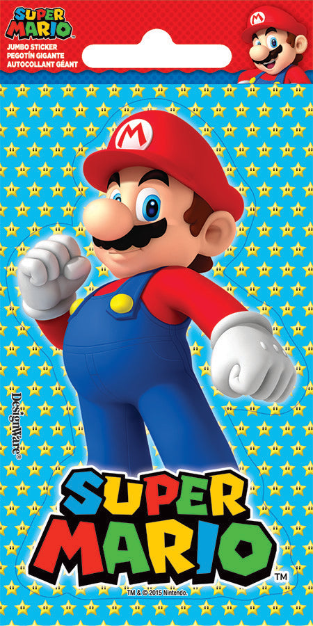Super Mario Brothers Jumbo Sticker Favors PK24 14cm x 7cm - Pack of 24