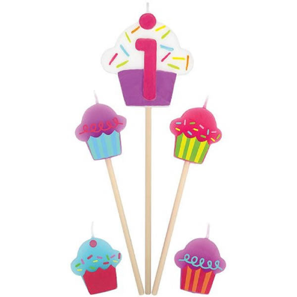 Candles Number 1 Cupcakes - 5 Piece Pick Set (1 x 15cm, 2 x 11cm & 2 x 3cm Mini Candles) - Each