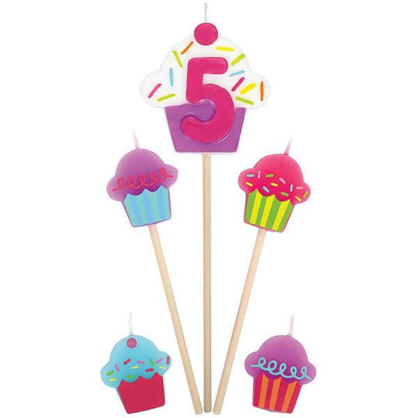 Candles Number 5 Cupcakes - 5 Piece Pick Set (1 x 15cm, 2 x 11cm & 2 x 3cm Mini Candles) - Each