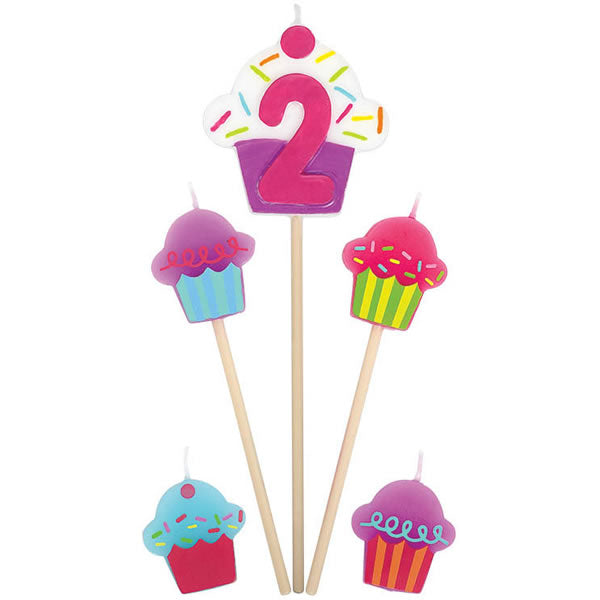 Candles Number 2 Cupcakes - 5 Piece Pick Set (1 x 15cm, 2 x 11cm & 2 x 3cm Mini Candles) - Each