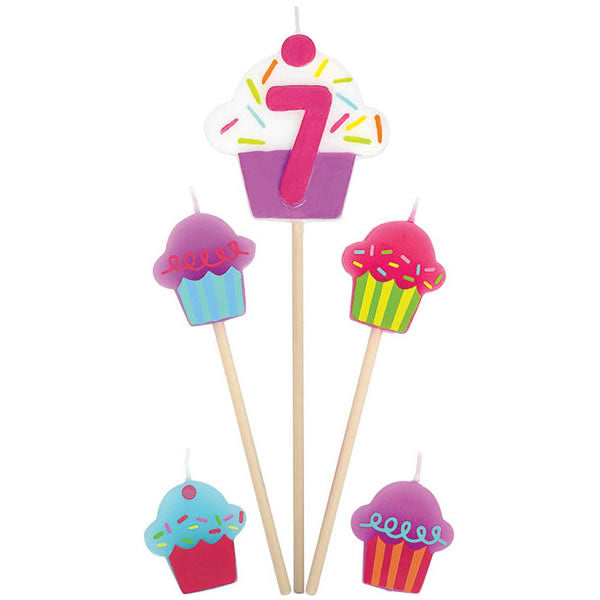 Candles Number 7 Cupcakes - 5 Piece Pick Set (1 x 15cm, 2 x 11cm & 2 x 3cm Mini Candles) - Each