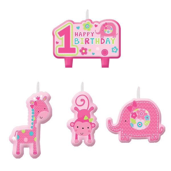 One Wild Girl Mini Candles Set Happy 1st Birthday  - Pack of 4