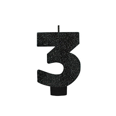 Candle Number Three Black Sparkle Glittered 8cm - Each