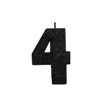Candle Number Four Black Sparkle Glittered 8cm - Each