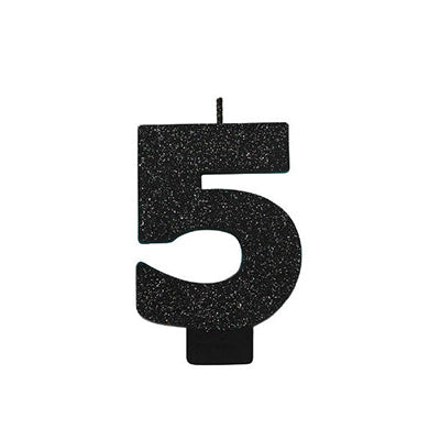 Candle Number Five Black Sparkle Glittered 8cm - Each