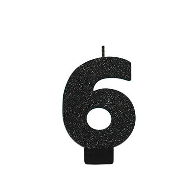 Candle Number Six Black Sparkle Glittered 8cm - Each