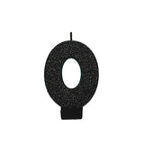 Candle Number Zero Black Sparkle Glittered 8cm - Each