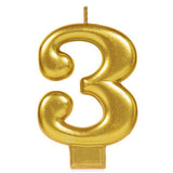 Candle Number Three Gold Metallic 8cm - Each