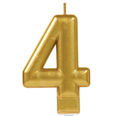 Candle Number Four Gold Metallic 8cm - Each