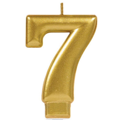 Candle Number Seven Gold Metallic 8cm - Each