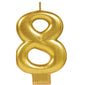 Candle Number Eight Gold Metallic 8cm - Each