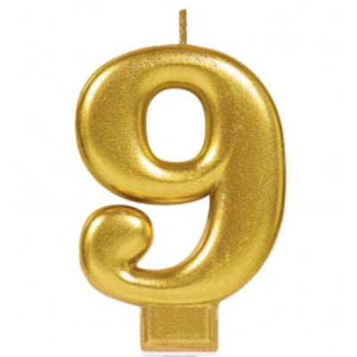 Candle Number Nine Gold Metallic 8cm - Each