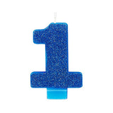 Candle Number One Bright Blue Glittered 8cm - Each
