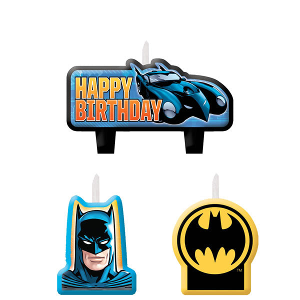 Batman Mini Moulded Candle Set Happy Birthday  - Pack of 4