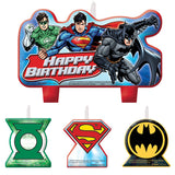 Justice League Candle Set Happy Birthday Mini Moulded Set - Pack of 4