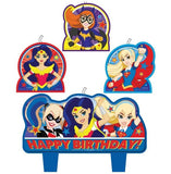 Super Hero Girls Candle Set Happy Birthday Mini Moulded Set - Pack of 4