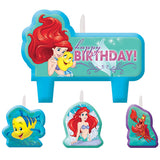 Ariel Dream Big Candle Set Little Mermaid Birthday Mini Moulded Set - Pack of 4