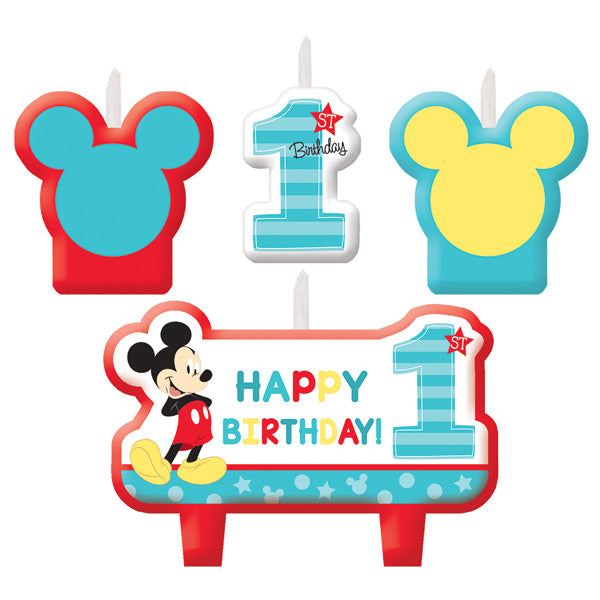Mickey 1st Birthday Candle Set Fun To Be One Mini Moulded - Pack of 4