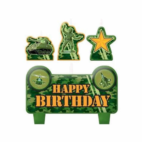 Camouflage Candles Set Mini Moulded Happy Birthday  - Pack of 4