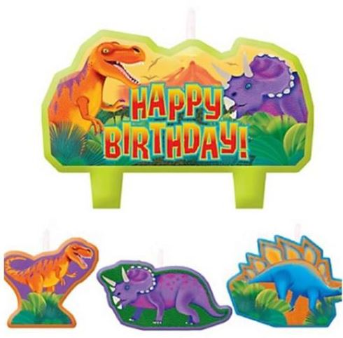 Prehistoric Dinosaurs Candle Set Happy Birthday Mini Moulded Set - Pack of 4