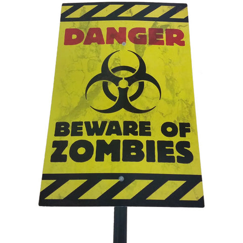 Zombie Yard Sign - Danger Beware of Zombies PROMO ITEM 58cm x 25cm Plastic (Not suitable for Express Post due to size of product) BUY 24 & SAVE - Each