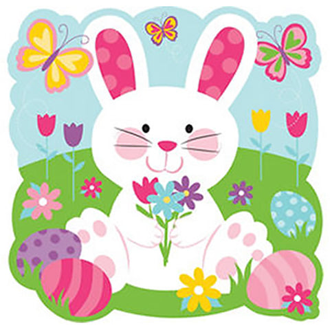 Easter Bunny Rabbit Cutout & Butterflies 26cm x 26cm Glossy Cardboard Printed Both Sides - Each