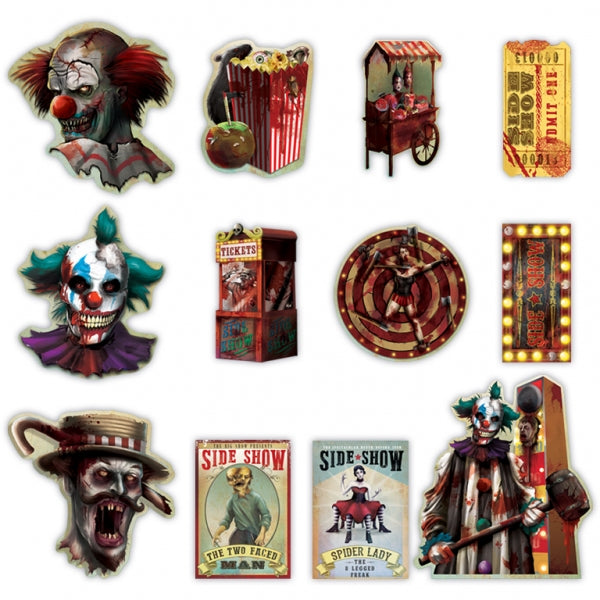 Creepy Carnival Side Show Cutouts Value Pack 1 x 30cm, 3 x 23cm & 8 x 18cm LIMITED STOCK FOR 2016 - Pack of 12