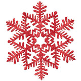 Glitter Snowflake Red Hanging Decoration (27cm) - Each