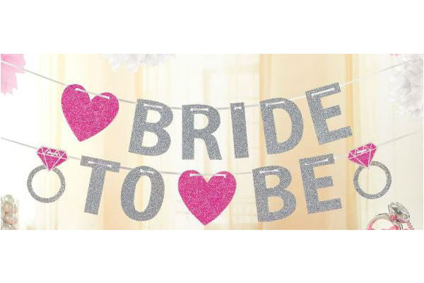 Bride to Be Glittered Banner Hearts & Diamond Rings 3.65m with White Ribbon - Each