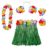 Hula Skirt Kit Child Size - Includes Lei, Hibiscus Top & Wristbands. Hula Skirt 55 x 30cm with Adjustable Waistband - Each