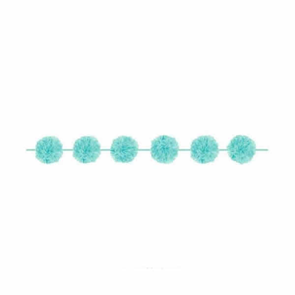 Fluffy Garlands Robin's Egg Blue Paper & Matching Ribbon 3.65m - Pack of 2