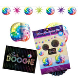 Disco Fever Decorating Kit Contains 1 x 3 metre long garland, 2 x 17.7cm Centrepieces, 2 x 30.4cm Paper Fan Decorations, 4 x 25.4cm Cutouts & 1 x 35.5cm Cutout. - Each