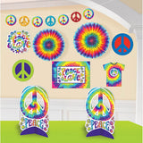 Decorating Kit Tye Dye Feeling Groovy 1 x 3m Garland, 2 x 30cm Paper Fans, 4 x Cutouts, 1 x Sign & 2 x 25cm Centrepieces - Each