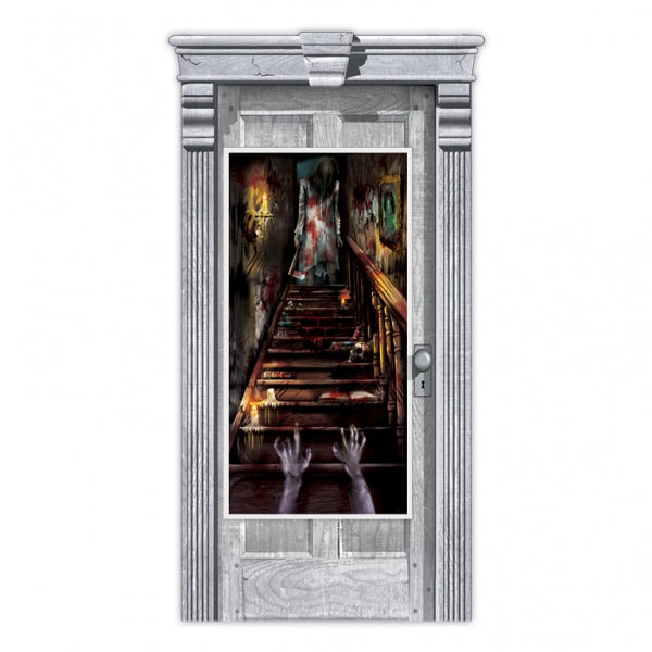 Door Poster Decoration Haunted Mansion Staircase 165cm x 85cm Plastic - Indoor & Outdoor Use - Each
