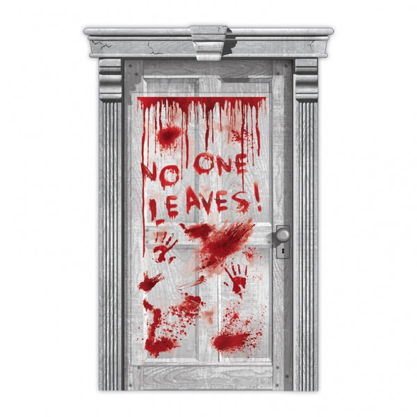 Door Cover Asylum Dripping Blood & Hands No One Leaves! 1.65m x 85cm Clear Plastic & Red Print - Each