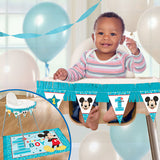 Mickey 1st Birthday High Chair Kit Fun To Be One 1x 109cm Paper Fringe Banner, 1 x 117cm x 76cm Plastic Floor Mat & Paper Fringe - Each