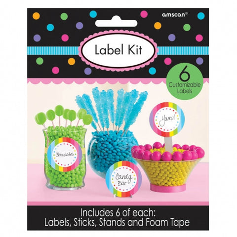 Label Kit for Containers - Multi Coloured Cardboard - Includes 6 of each of Labels, Stickers, Stands & Foam Tape - Each