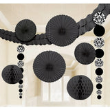 Decorating Kit - Damask Black & White 1 x Garland 3.6m, 2 x Honeycomb Balls 24cm, 2 x 90cm Hanging Decorations, 4 x Tissue Fans - Each