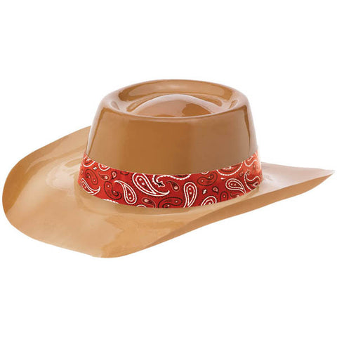 Bandana & Blue Jeans Cowboy Hat Plastic (Brown with Red Band) - Each