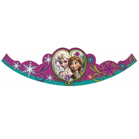 Frozen Tiara's with Glitter Cardboard with Elastic Strap - Pack of 8