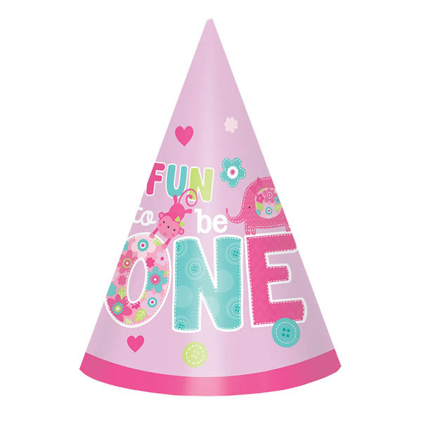 One Wild Girl Cone Hats 1st Birthday Cardboard - Pack of 8