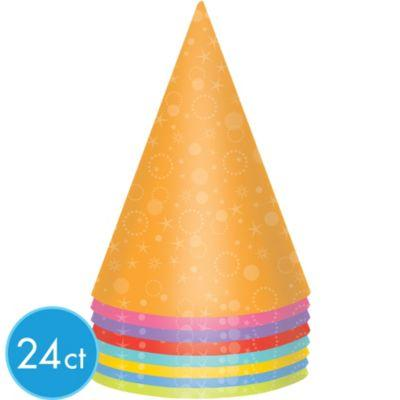 Party Hats Cone Shaped Stars & Swirls Assorted Colours - Pack of 24
