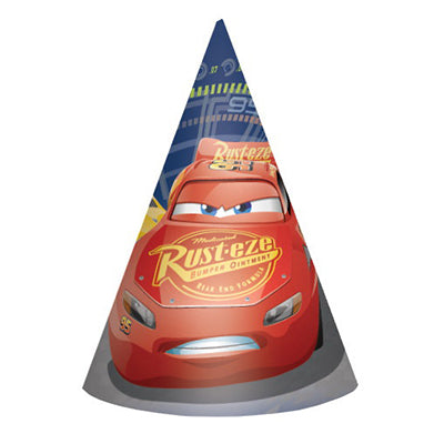 Cars 3 Cone Hats & Elastic Straps  - Pack of 8