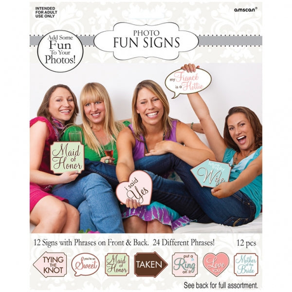 Game Bridal Shower Signs 12 Signs with Phrase on Front & Back 26cm x 10cm - Each