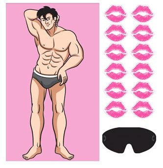 Game Kiss The Stud - Put the Lips on the Man Includes 1 x Plastic Poster 56cm x 94cm, 12 x Stickers & 1 x Blindfold - Each
