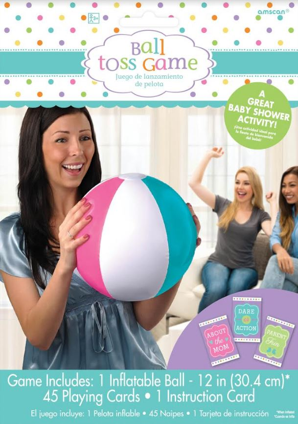 Game Baby Shower Ball Toss Game 1 x Inflatable 30cm Ball & 45 Playing Cards & Instructions - Each
