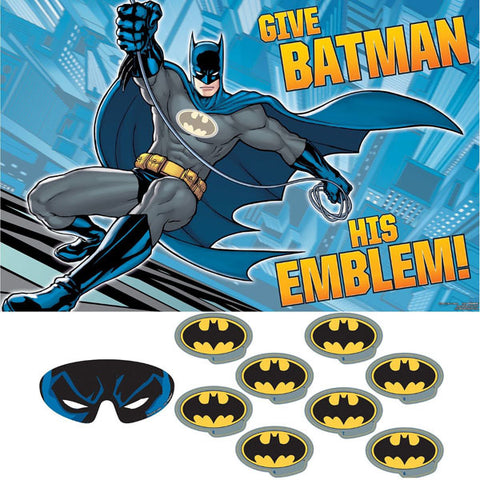 Batman Game - Give Batman His Emblem Party Game 1 x Plastic Poster, 8 x Stickers & 1 x Paper Blindfold - Each